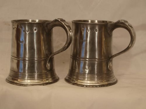 a pair of antique english pewter 1 pint measures or tankards circa 1830 by john curruthers crane of bewdley