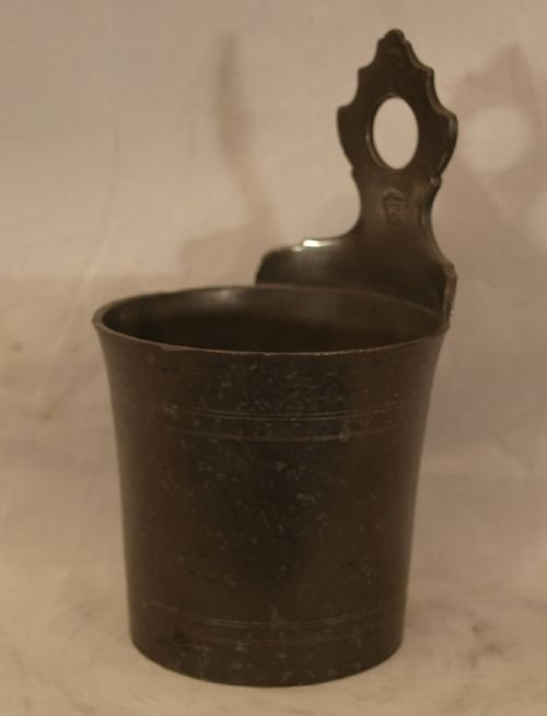 antique dutch pewter hanging wall salt or soap dish circa 1820