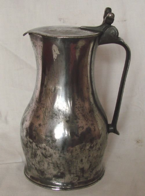 antique jersey lidded 1 quart imperial flagon by john de st croix circa 1750