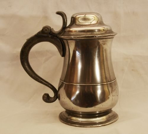 antique english pewter lidded tankard c1740 by allen bright of bristol 32fl oz capacity