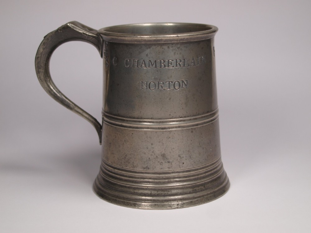 antique english pewter 1 pint measure by w mckenzie of birmingham 18251841