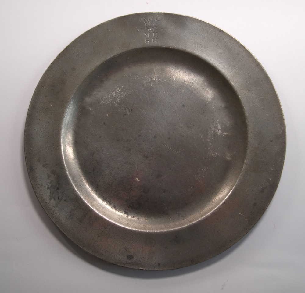 antique english pewter plain rim plate by watts harton of london 18361863