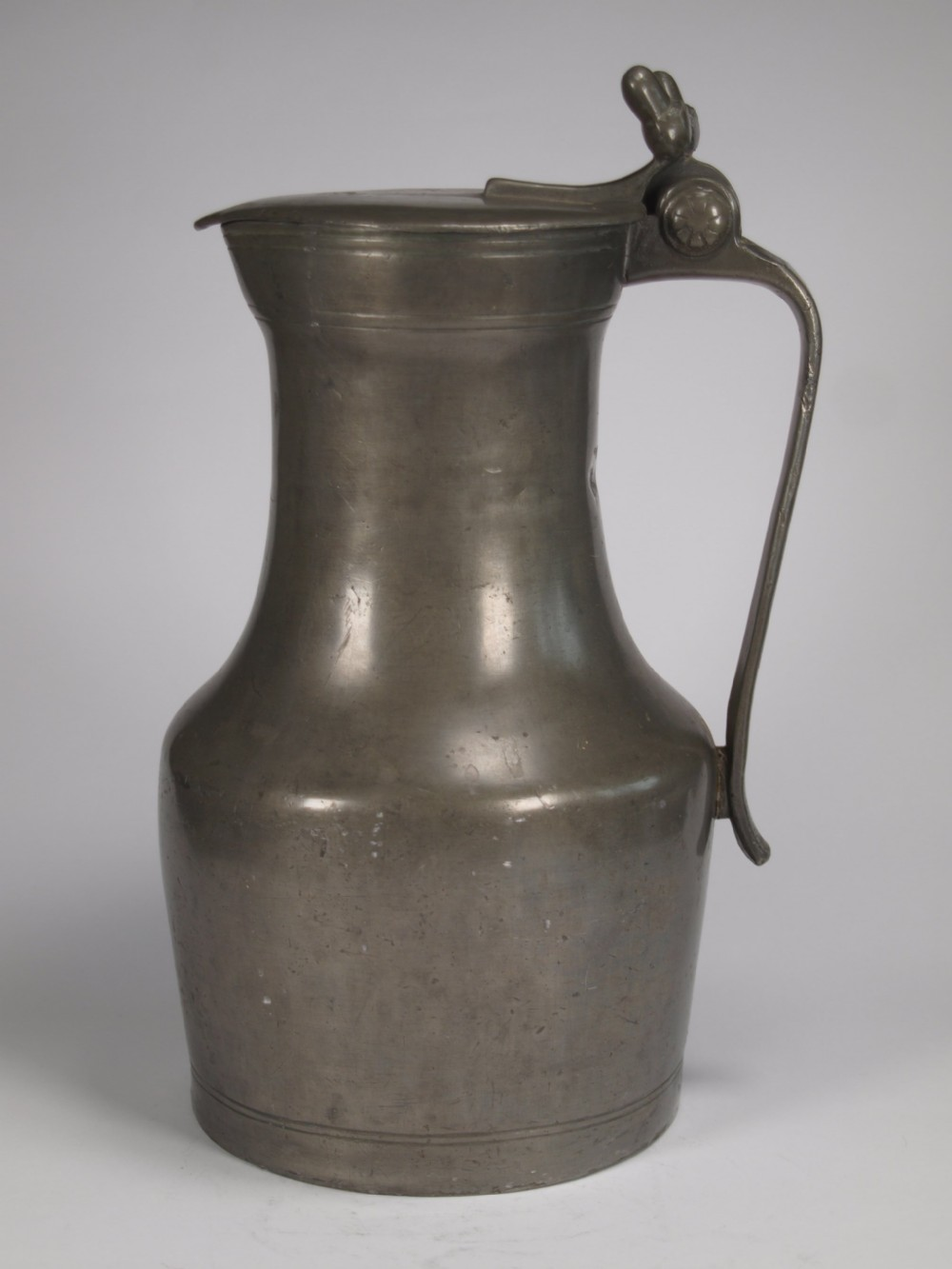 antique french pewter normandy flagon of large size circa 1800